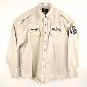 Wrangler Jack Daniels Shirt XL Tan Long Sleeve